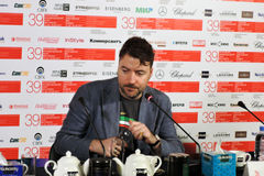 Film director Albert Serra. MOSCOW - JUNE 29, 2017: Film director Albert Serra from Catalonia, Spain at press-conference of his film Death of Louis XIV shown royalty free stock photography