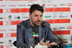 Film director Albert Serra. MOSCOW - JUNE 29, 2017: Film director Albert Serra from Catalonia, Spain at press-conference of his film Death of Louis XIV shown stock images