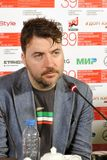 Film director Albert Serra. MOSCOW - JUNE 29, 2017: Film director Albert Serra from Catalonia, Spain at press-conference of his film Death of Louis XIV shown stock photos