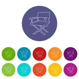Film director chair icon, outline style. Film director chair icon. Outline illustration of film director chair vector icon for web Royalty Free Stock Photography