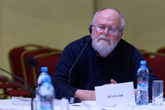 Film director Kevin Sim at the round table discussion Royalty Free Stock Image