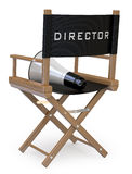 Film director's chair with a megaphone back view. Rendered on a white background with diffuse shadows Stock Image