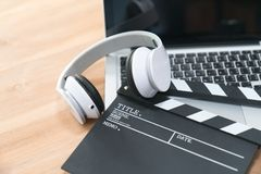 Film director`s desk. stock photo