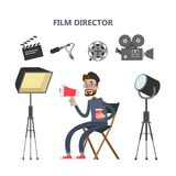 Film director set. Lighting and megaphone, camera and director Royalty Free Stock Photo