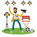 Film director on set. Film director on the set. Videoproduction and filmmaking. Flat vector cartoon illustration. Objects isolated on white background vector illustration