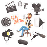 Film Director Sitting With Megaphone Controlling Movie Shooting Process Surrounded By Moviemaking Set Of Ofbjects. Film Director Sitting With Megaphone vector illustration