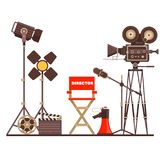 Film directors workplace Chair, Megaphone,Searchlight and clapboard. Work on the set of the film. Flat vector cartoon. Director s workplace Chair, Megaphone and Royalty Free Stock Images