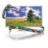 Film and display. Frames of film on the display with image of landscape Royalty Free Stock Photos