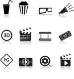 Film ed insieme dell'icona del cinematografo Fotografia Stock Libera da Diritti