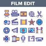 Film Edit, Filmmaking Linear Vector Icons Set royalty free illustration