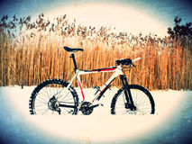 Film effect.Mountain bike stay in powder snow. Lost path  in deep snowdrift. Rear wheel detail. Snow flakes melting on dark off ro Royalty Free Stock Photos