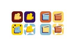 Film - ekranowy płaski ikona set Fotografia Stock