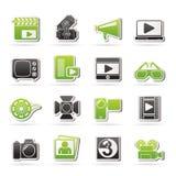 Film en bioskooppictogrammen Royalty-vrije Stock Foto