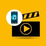Film en ligne de musique de Smartphone Photos libres de droits