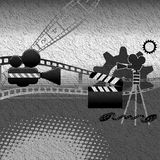 Film equipment. Abstract illustration in black and white with film equipment Royalty Free Stock Photo