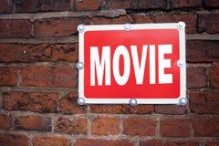 Film för film för underhållning för begrepp för film för visning för inspiration för överskrift för handhandstiltext som menande  Royaltyfria Foton