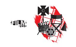 Film fest design with film set. Creative background for film fest, event, celebration etc. with film set. grunge, cartoon. white background Royalty Free Stock Photos