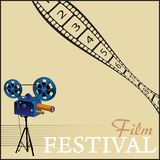 Film festival. Colorful illustration with movie projector and numbered filmstrip. Film festival theme Royalty Free Stock Images