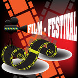 Film festival. Abstract colorful background with yellow filmstrip, movie projector and the text film festival coming out from the projector. Film festival stock illustration