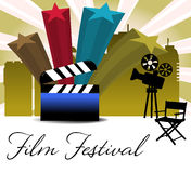 Film festival. Abstract colorful background with four stars, movie projector, chair and clapboard. Film festival theme stock illustration