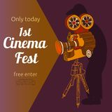 Film festival advertising poster. Vintage cinema 1st festival free entrance event billposter advertisement placard with old projector pictogram abstract vector Royalty Free Stock Images