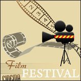 Film festival background. Abstract colorful illustration with film strips and movie camera Stock Photos