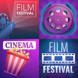 Film festival banner set, cartoon style royalty free illustration