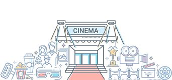 Film festival - modern line design style illustration. Colorful composition with a cinema, red carpet, popcorn, 3d glasses, audience, camera, clapper board Stock Photography
