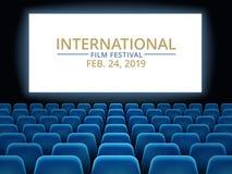 Film festival. Movie theater hall with white screen. Cinema international festival vector background vector illustration
