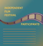 Film festival poster with cinema tape symbol on blue sky background. Nice banner design for your event Stock Photography