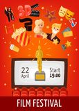Film Festival Poster. With start date information screen in auditorium and cinema decorative icons flat vector illustration Stock Photos