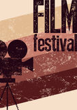 Film festival poster. Retro typographical grunge vector illustration. Royalty Free Stock Photography