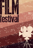 Film festival poster. Retro typographical grunge vector illustration. Royalty Free Stock Photo