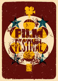 Film festival poster. Retro typographical grunge vector illustration. Stock Photos