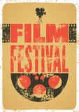 Film festival poster. Retro typographical grunge vector illustration. Royalty Free Stock Images