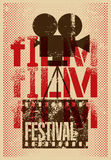 Film festival poster. Retro typographical grunge vector illustration. Stock Images
