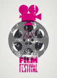 Film festival poster. Retro typographical grunge vector illustration. Stock Image