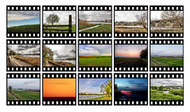 Film_7. Fifteen color slides on a white background Royalty Free Stock Photography