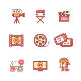 Film-, Film- und Videoikonen verdünnen Linie Satz Stockfoto