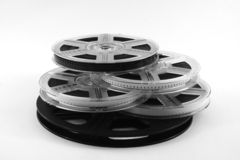 Film on films. Film reels with film. Useful for movie or cinema backdrop or backfround poster. Film on film royalty free stock photography