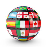 Film with the flags. Of the countries in the form of a ball Stock Photography