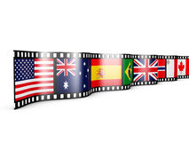 Film with  flags. Film with country flags on white background Royalty Free Stock Images