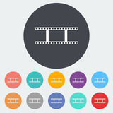 Film flat icon. Film. Single flat icon on the circle. Vector illustration Stock Photos
