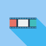 Film flat icon. Film icon. Flat vector related icon with long shadow for web and mobile applications. It can be used as - logo, pictogram, icon, infographic Royalty Free Stock Photography