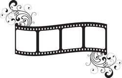 Film frame. Illustration of film frame silhouette with floral decoration over white background Stock Images