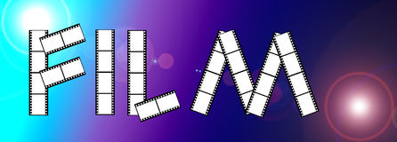 Film frame. Image showing the word film made up of a number of 35mm film strip on placed on a lens flare background Stock Images