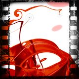 Film frame. Grunge film strip, with hi-tech abstract background stock illustration
