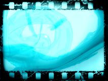 Film frame. Glamorous film strip, with grunge effects on blue background Stock Photography