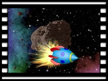 Film frame with asteroid and rocket Royalty Free Stock Photography