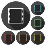 Film Frame icons set with long shadow Stock Photos